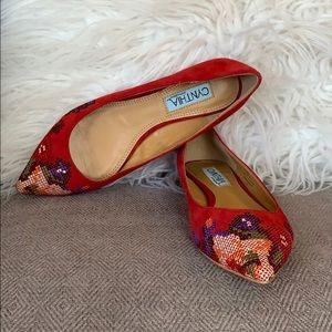 Cynthia Rowley Shoes - Cynthia Rowley Embroidered Pointy Toe Flats